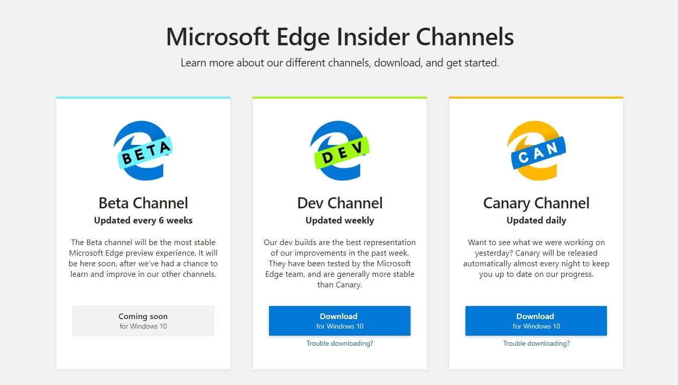 Edge mới cũng có 3 kênh phát triển gồm Beta, Dev và Canary