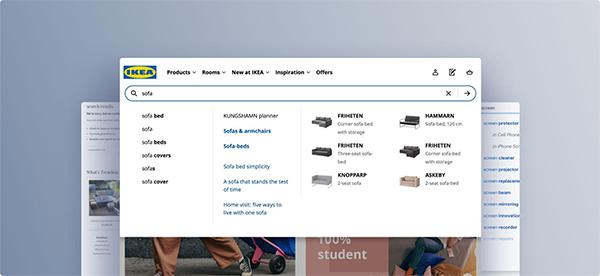 Tính năng tự động điền sản phẩm liên quan trên công cụ tìm kiếm của IKEA (một công ty bán đồ nội thất hàng đầu)